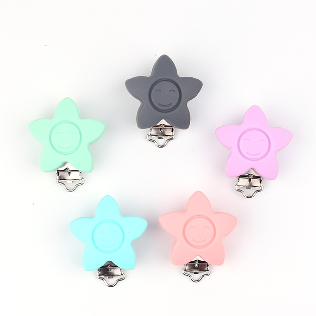 cf068653b72d HU 5pc set Star Shaped Pacifier Clip Baby Silicone Teether teething  Accessories DIY Bead Tool Baby Clasps Holder Clip