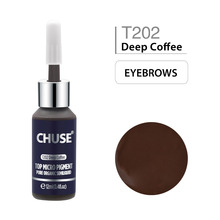 Chuse café profundo t202 maquiagem permanente tinta delineador tatuagem conjunto de tinta sobrancelha microblading pigmento profissional 12 ml 0.4oz
