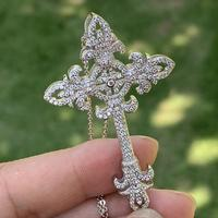 2019 Top Selling Necklace Luxury Jewelry 925 Sterling Silver Cross Key Pendant 5A Cubic Zirconia Wedding Flower Necklace Gift