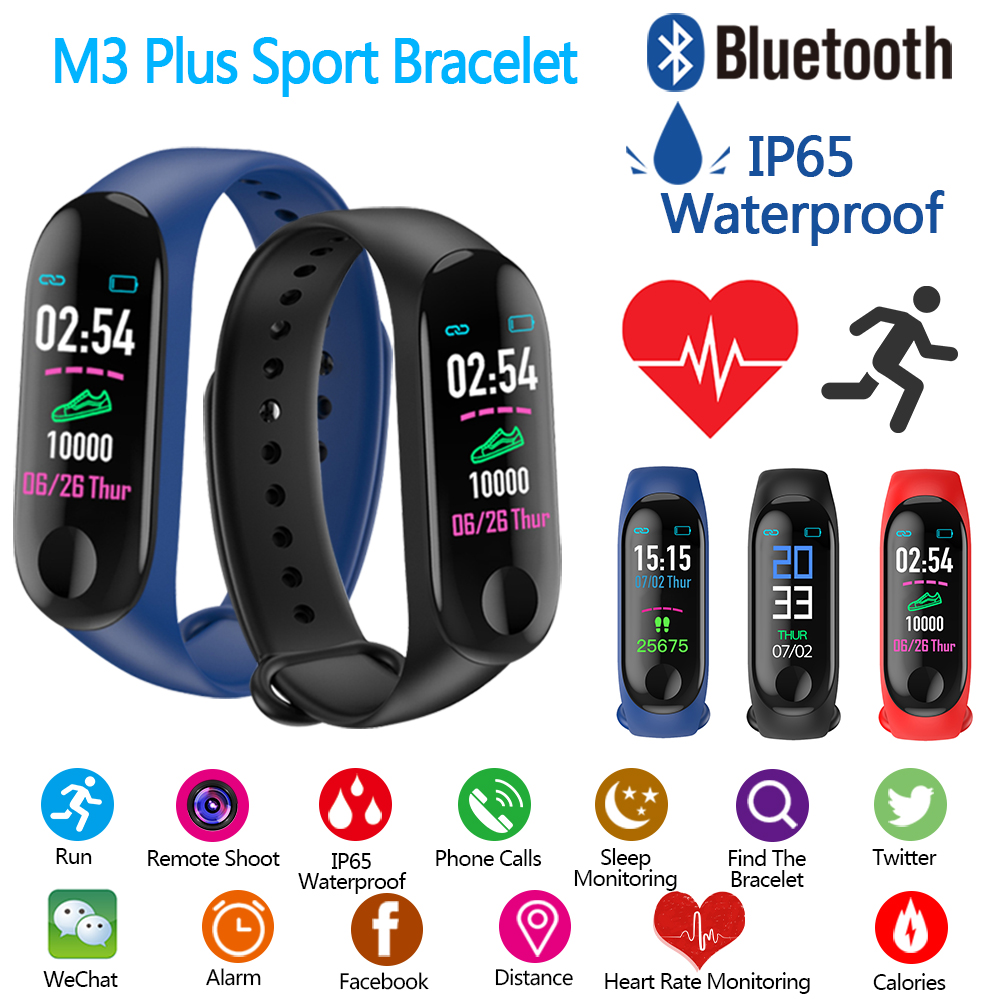 New M3 Plus Smart Bluetooth Wristband Sports Pedometer Bracelet Fitness Watch Waterproof Heart Rate Running Walking Step Counter