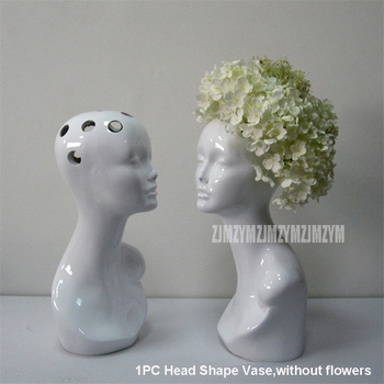 Modern Abstract Art Creative Human Model Head Flower Vase Ornaments Club Office Hotel Library Furnishings Home Decoration