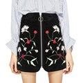 Bordados de Gamuza de Cuero Mini Faldas Para Mujer de Cintura Alta Saia Jupe 2017 Verano Corto Rokken Floral Retro de Las Mujeres de La Falda Faldas C163