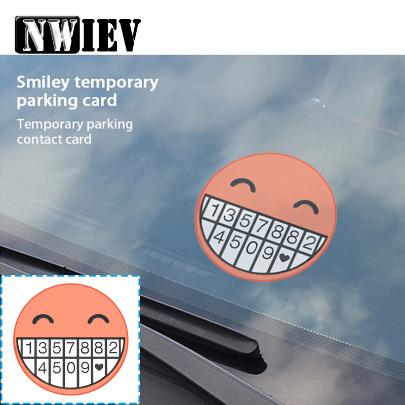 NWIEV Car Temporary Parking Phone Number Card Smiley ...