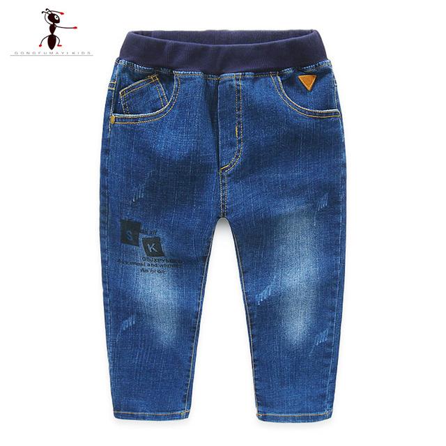 2016 Carta Elástico Cintura Niños Pantalones Vaqueros GFMY Casual Niños Encuadre de cuerpo Entero Denim Niños niños 2-9 Años de Edad de La Moda 2331