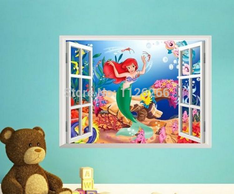Aliexpress.com : Buy 3D Window The Little Mermaid Underwater World Cartoon Wall  Decal Wall Stickers For Kids Children Girl Rooms Decor From Reliable Decals  ... Part 88