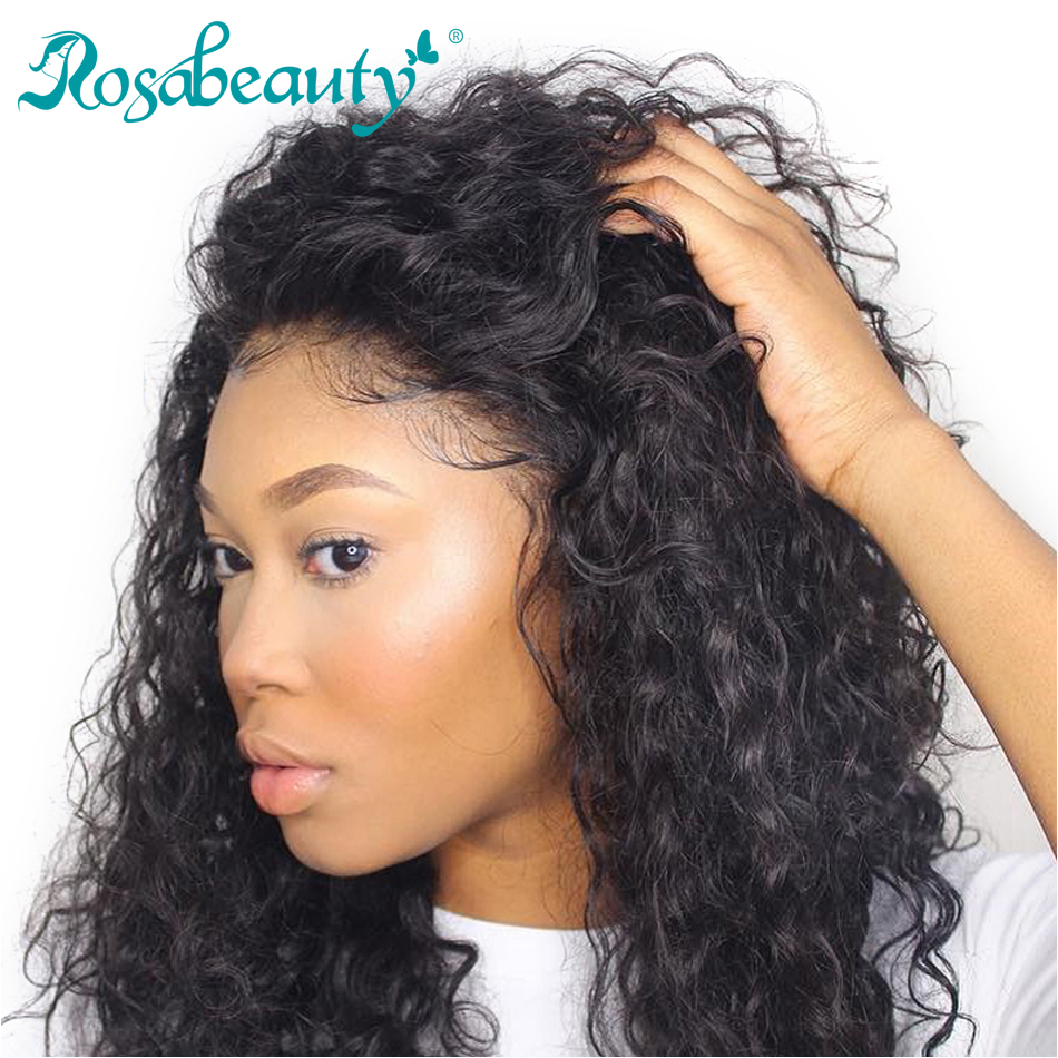 Rosabeauty Deep Wave Lace Frontal Human Virgin Hair Closure with Baby Hair 130 Density Pre plucked