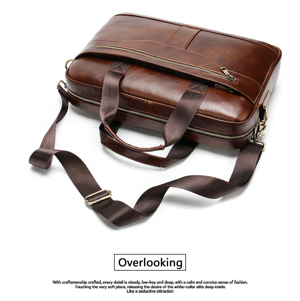 11 Bag Men's Genuine Leather Briefcase Male Handbags Lawyer Man Laptop Bag Leather for Men Messenger Bags Men's Briefcases