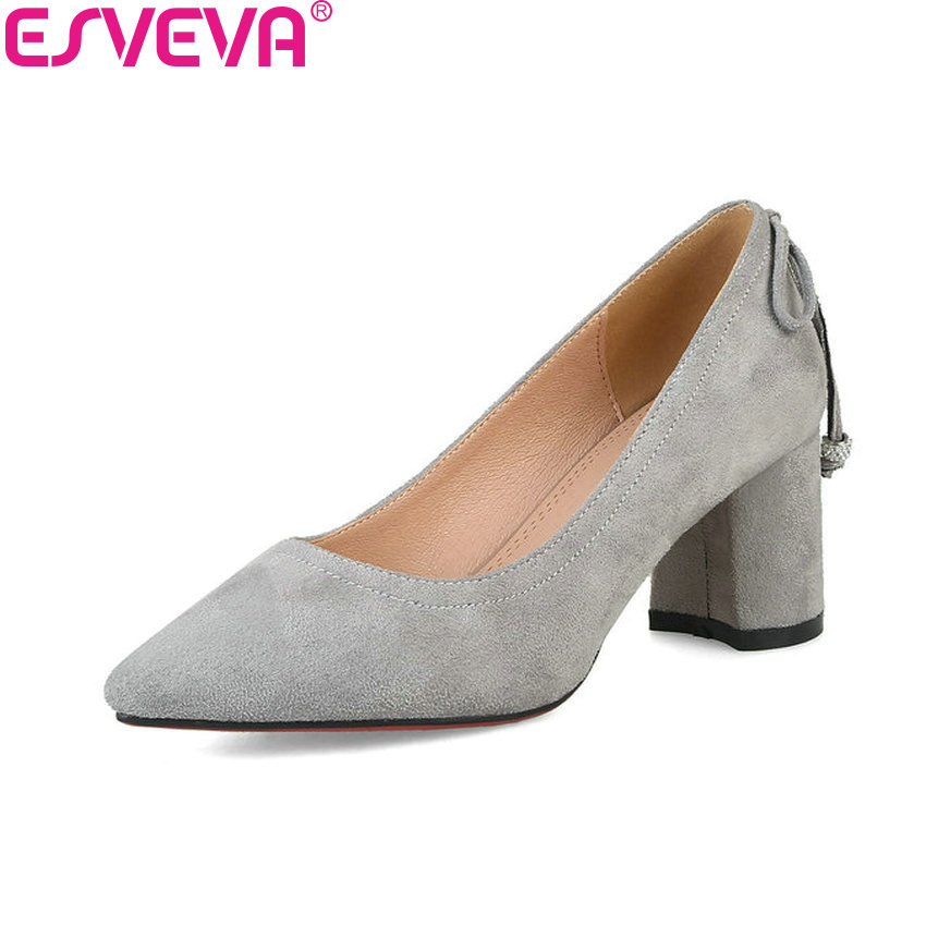 ESVEVA 2018 Women Pumps Elegant Sweet Style Slip on High Heels Pointed Toe Square Heels Handmade Women Pumps Shoes Size 34-40 2017 shoes women med heels tassel slip on women pumps solid round toe high quality loafers preppy style lady casual shoes 17