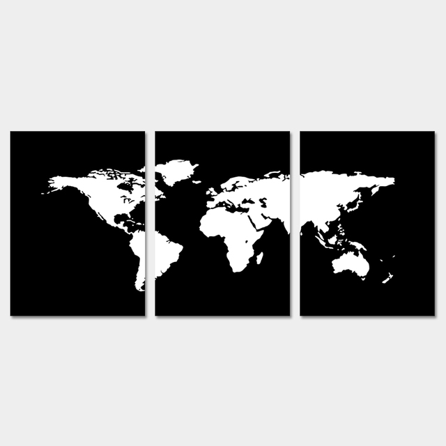 3 piecesset modern black and white world map decoration wall art 3 piecesset modern black and white world map decoration wall art pictures canvas painting gumiabroncs Choice Image