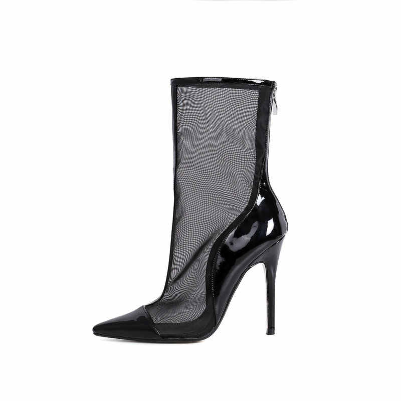 Kadın Hakiki Deri Örgü Geri Fermuar Orta C Çizmeler Moda Ince Yüksek Topuk Bahar Sonbahar Ayakkabı Siyah Bej