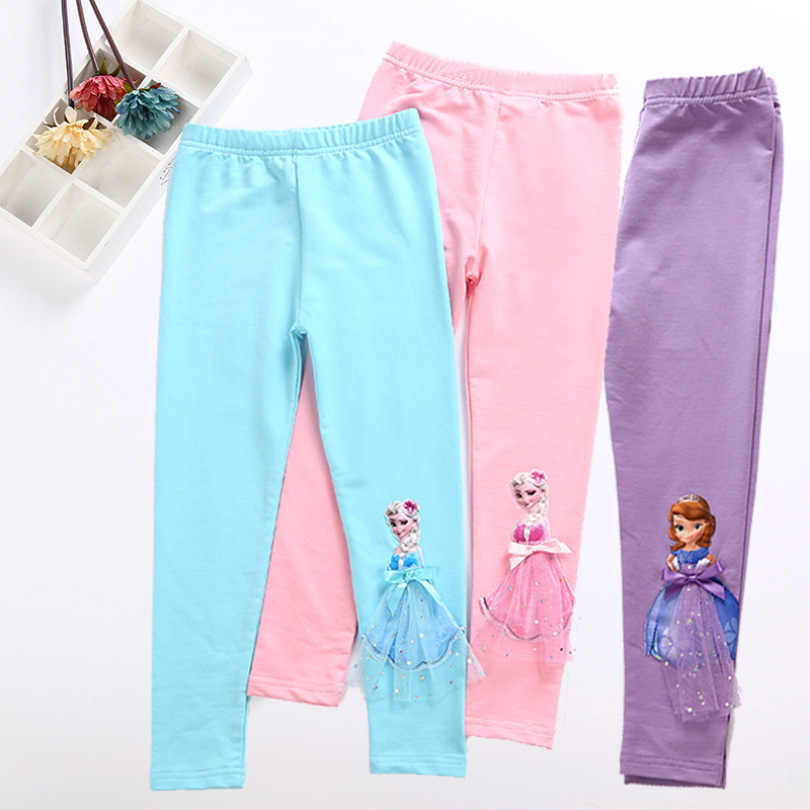 Elsa Anna Girls Trousers Kids Cartoon Leggings 2019 Spring Autumn Long Pants 3D Princess Legging Children Clothing 2-10T