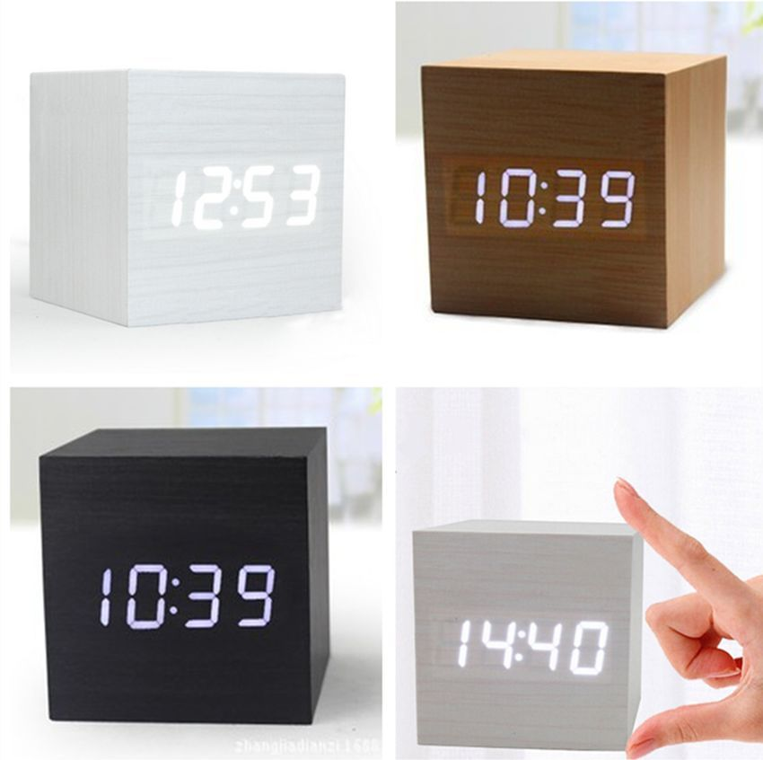 2015 Wooden Wood Digital LED Alarm Clock Voice Control Calendar Temperature