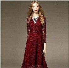2016 Woman Autumn Dress Woman Sexy Lace Slim Bottoming Lace Print Elegant Print Knee-Length A-Line Autumn Woman Dress