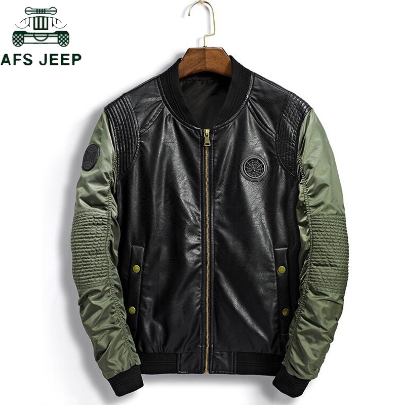 Spring Autumn Bomber Jacket Men Casual Flight Pu Leather Jackets Male Pilot Air Force Army Military Baseball Jackets Coats Mens