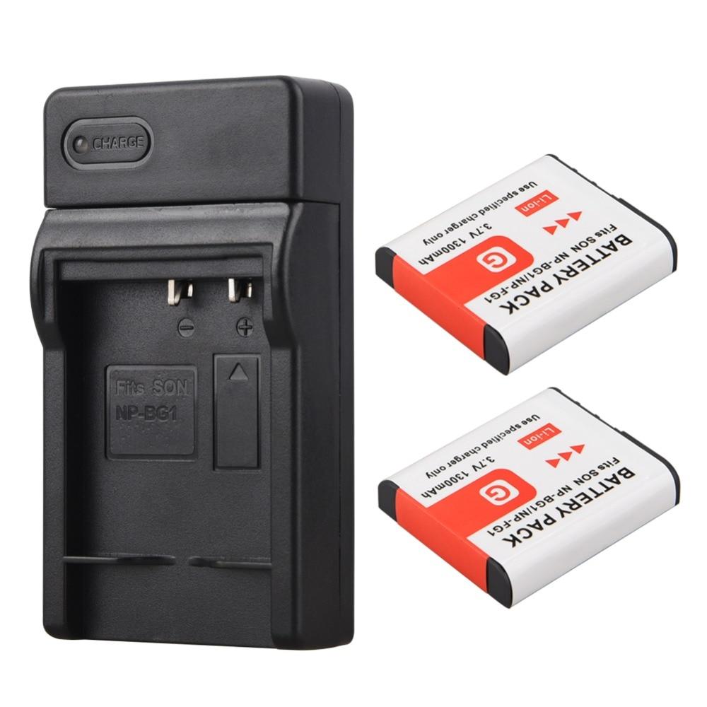 2x1300 mAh NP-BG1 NP BG1 NPBG1 batería + cargador USB para Sony DSC-H3 DSC-H7 DSC-H9 DSC-H10 DSC-H20 DSC-H50 DSC-H55 DSC-H70