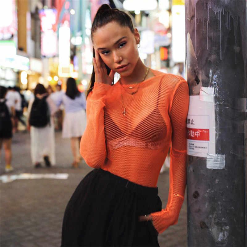f62945ad65a BKLD Sexy Women T Shirt See Through Transparent Mesh Tops Long Sleeve Sheer  Slim Ladies Orange