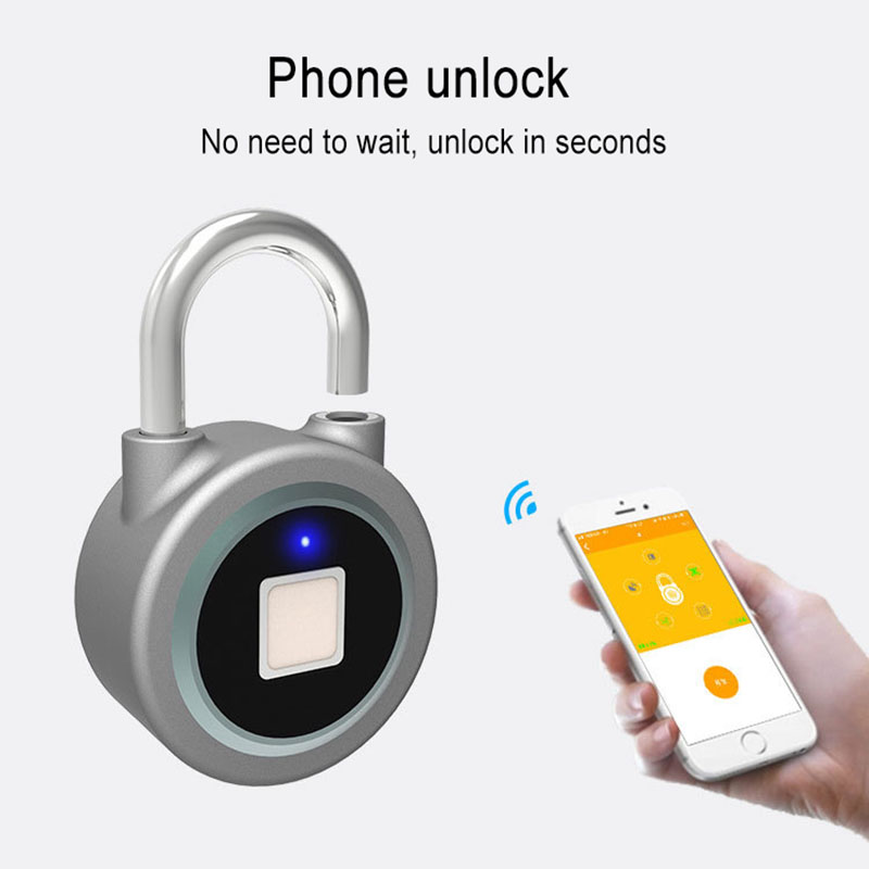 Fingerprint Recognition Bluetooth Lock APP Control Anti Theft Padlock for Gate Luggage Bicycle ALI88Fingerprint Recognition Bluetooth Lock APP Control Anti Theft Padlock for Gate Luggage Bicycle ALI88