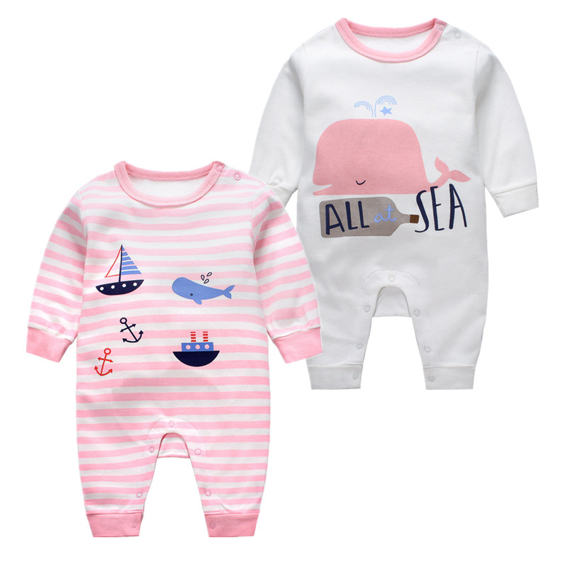 100% Cotton New Born Baby Clothes Long Sleeve Cartoon Jumpsuit Boys Girls Cheap&high Quality Rompers Newborn Climbing Clothing