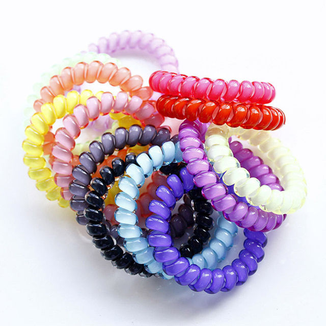 5 Pcs Durable Elastic Hair Ties Colorful Extendable Coiled Telephone Wire Rings For Women