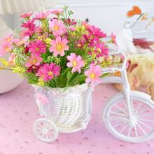 1 шт. поплавок ваза завод Стенд держатель Большой ротанга трехколесный велосипед дизайн Органайзер Цветочная корзина горшок в виде велосипеда из ротанга хранения A18