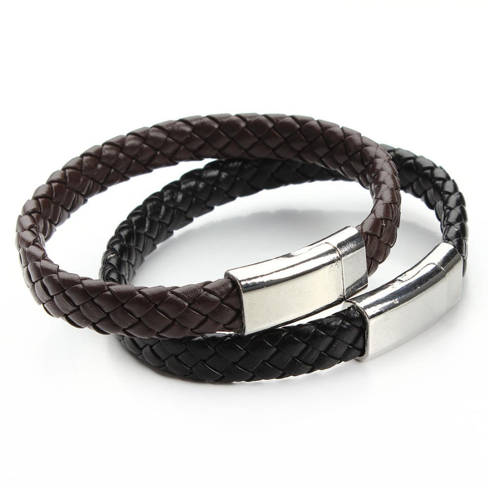 2016 New Handmade Black & Brown Genuine Braided Leather Bracelet Magnetic Clasps Bracelets & Bangles for Men Pulseiras F2890