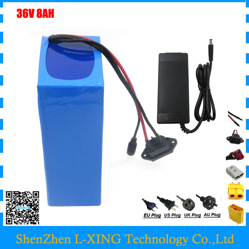 Electric Bike battery 36V 8AH bicycle battery 36V 500W 36V Lithium ion battery with BMS 2A Charger Free customs fee e bike battery 36v 8ah 500w electric bicycle battery 36v with 42v 2a charger 15a bms 36v lithium battery pack free shipping