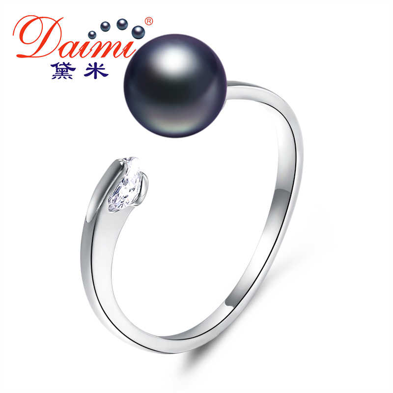 Daimi 7-8MM Pink Freshwater Pearl Ring Gift For Women Brand Jewelry Natural Pearl Ring