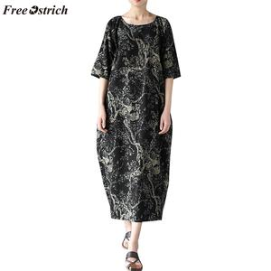 Dress Women's Famous-Style Half-Sleeve Floral-Print Large-Size Cotton Casual And Linen