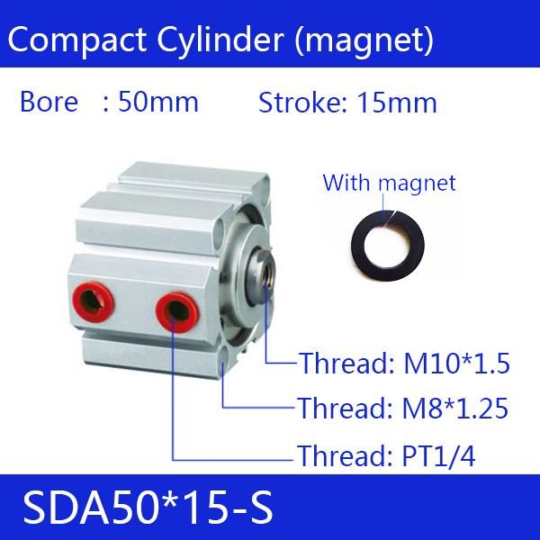 SDA50*15-S, 50mm Bore 15mm Stroke Compact Air Cylinders SDA50X15-S Dual Action Air Pneumatic CylinderSDA50*15-S, 50mm Bore 15mm Stroke Compact Air Cylinders SDA50X15-S Dual Action Air Pneumatic Cylinder