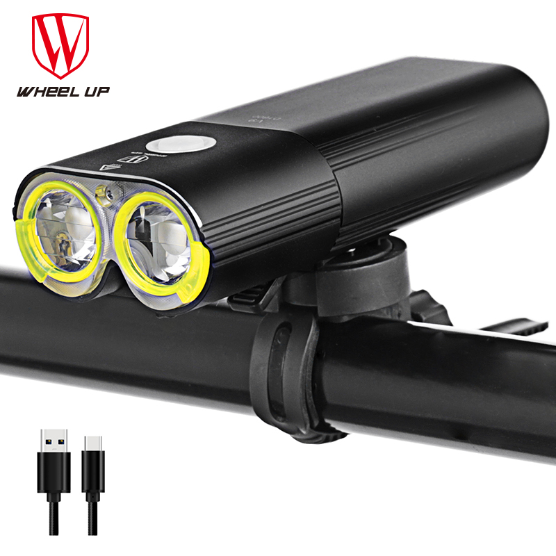 WHEEL UP Flashlight Rechargeable Cycling Riding Flashlight Bike Accessories Waterproof Bike Headlight MTB Bicycle Front Lamp roswheel mtb bike bag 10l full waterproof bicycle saddle bag mountain bike rear seat bag cycling tail bag bicycle accessories
