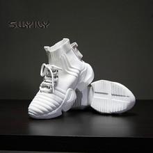 Женские высокие кроссовки SWYIVY, новинка 2019, осенние женские кроссовки носки, черные кроссовки, дышащая обувь в стиле хип хоп на платформе для женщин
