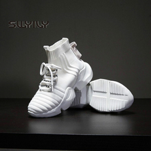 SWYIVY Woman Sneakers White High Top 2019 New Autumn Women Sock Shoes Black Sneakers Breathable Hip Hop Platform Shoes Women