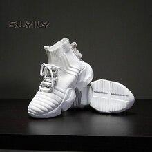 Swyivy 女性スニーカーホワイトハイトップ 2019 新秋女性靴下靴黒スニーカー通気性ヒップホッププラットフォーム靴女性