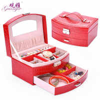 2 Layers Leather Jewelry Box Carrying Case Fashion Stylish Classical Jewel Case With Mirror and Lock For Ring Festival Gift