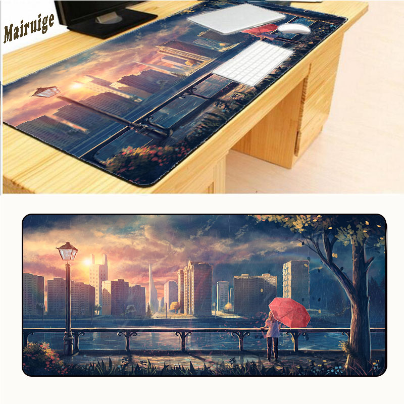 Mairuign Rain Houses Rivers Sea Street Lights Trees Free Shipping Gaming Rubber Mouse Pad Gamer Large Table Mat Overlock