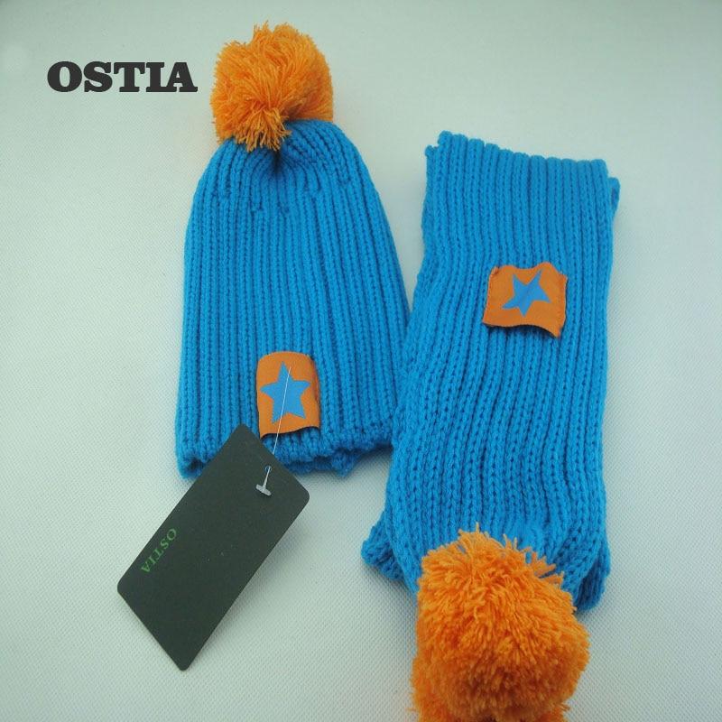 OSTIA 2 Pcs Autumn Winter Newborn Baby Knitted Hat Scarf Set Cartoon Five Star Kids Boys Girls Winter Beanie Hat Scarf Set H38