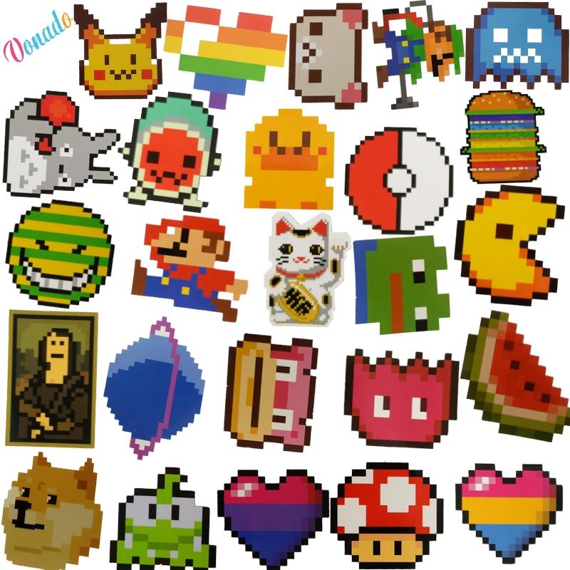 25 Pcslot De Bande Dessinée Mario Pixel Style Autocollant
