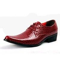 Luxury Brand Designer Italian Men S Crocodile Leather Pointed High Heeled Shoes Fashion Men S Flat