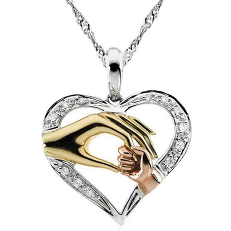 2019 Cubic Zirconia Mom Necklace Baby Heart Pendant Daughter Son Child Family Love Jewelry Friends Birthday Mother Days Gift Box