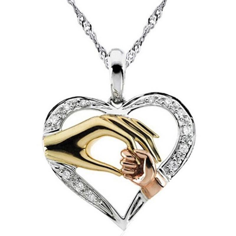 2020 Cubic Zirconia Mom Necklace Baby Heart Pendant Daughter Son Child Family Love Jewelry Friends Birthday Mother Days Gift Box image