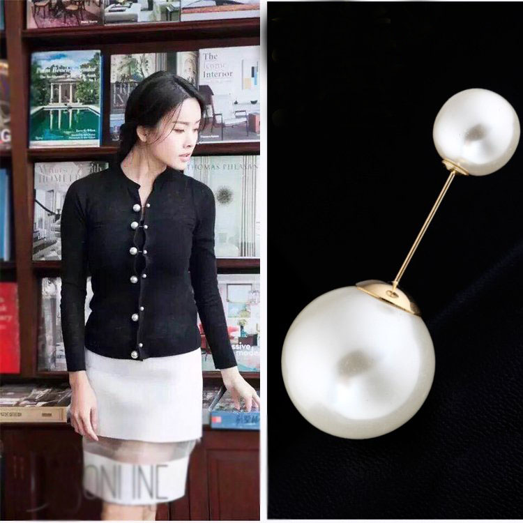 New Simple design metal word size pearl brooch pin simple pin brooch scarf shawl buckle female cardigan accessories