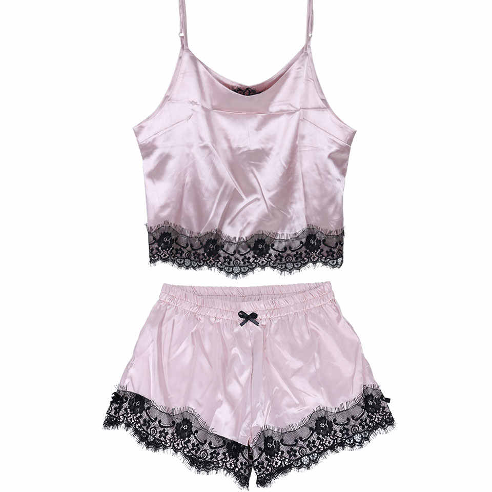 Silk Sexy Summer Sleepwear Women Sleeveless Lace pijama Set Spaghetti Strap  Pajamas Satin Top and Shorts ff1be1abd