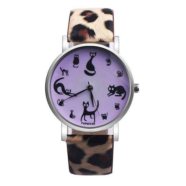 606b7f111e4 Venda quente Relógios Das Mulheres Gato Bonito Faux Couro Analógico de Pulso  de Quartzo Moda Feminina