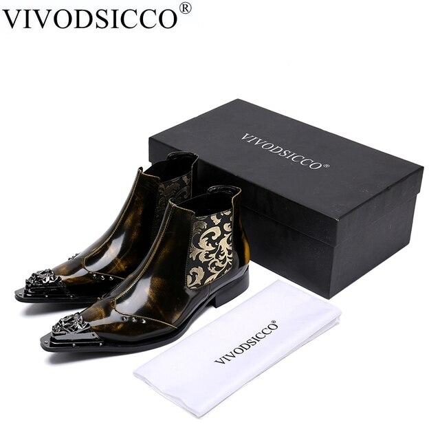 VIVODSICCO Fashion Luxury Men Boots Genuine Leather Ankle Boots for Men  Italian Business Rivets Dress Shoes a9d10e308242