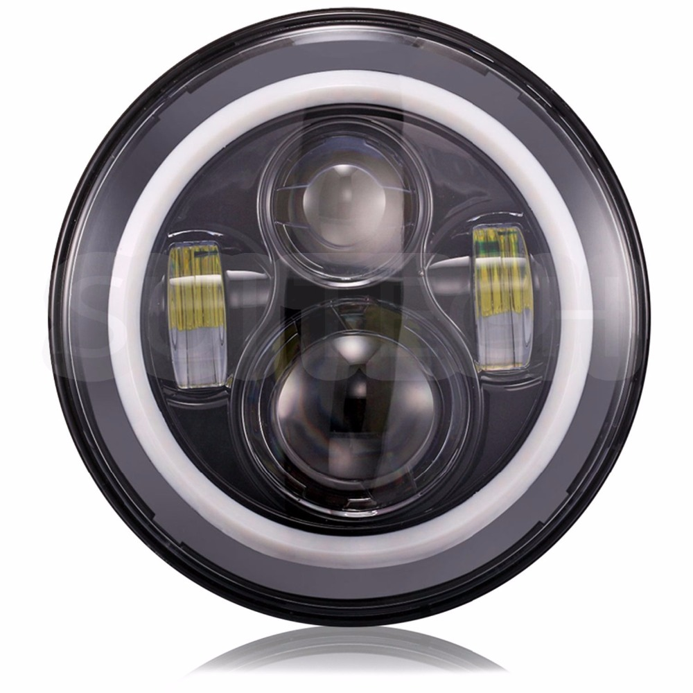 """Image 2 - 7""""INCH LED Headlight Car Angel Eyes DRL Running Lights for Ford Mustang 1965 1978 Camaro 1967 1981 Kenworth T 2000 Harley-in Car Light Assembly from Automobiles & Motorcycles"""