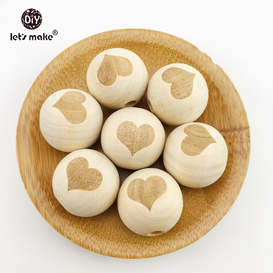 Wooden Teether 10pcs 20mm DIY Beads Natural Wood Beads Round Wooden Beads Wooden Balls Printing Heart Wooden Toys For Baby