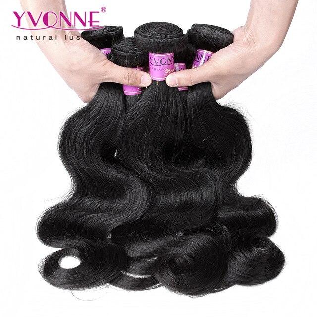 3 Bundles Peruano de la Virgen Del Pelo Onda Del Cuerpo, 100% Armadura Del Pelo Humano, 8 ~ 28 Pulgadas de Aliexpress YVONNE Hair, Color Natural