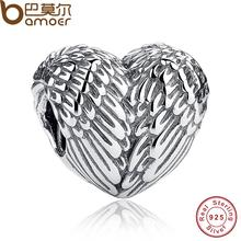 Sculptural 925 Sterling Silver Angelic Feathers Wings Charm Fit Bracelet Silver 925 Jewelry Making PAS033(China)