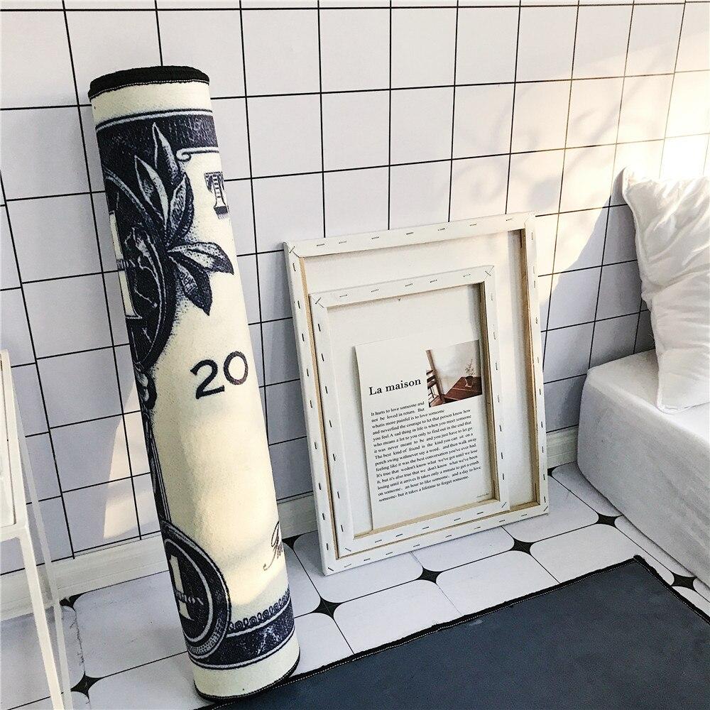 Creative dollar motif tapis de sol flanelle HD imprimé chambre anti dérapant tapis salon décoration porte tapis chevet bande tapis - 4