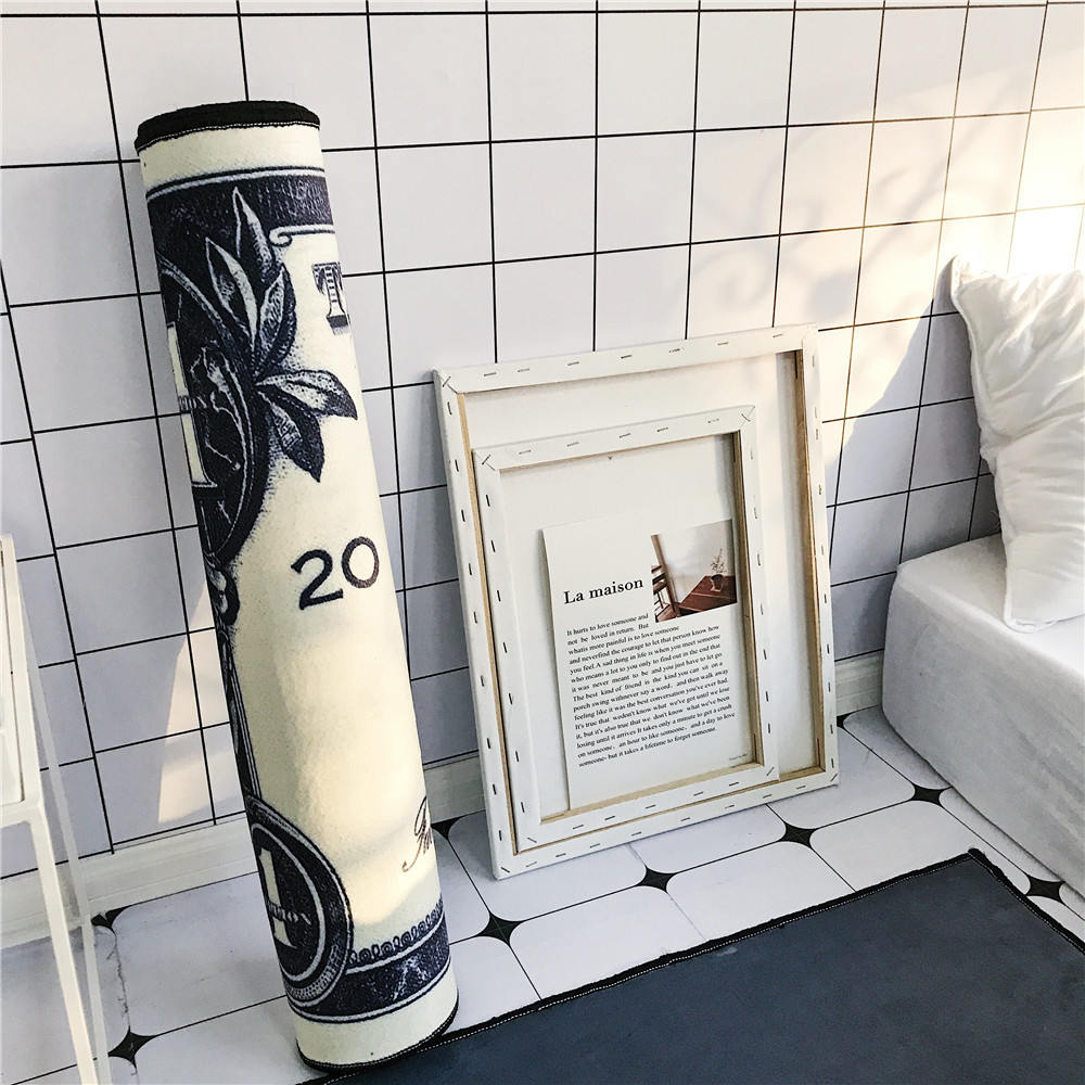 Kreative dollar muster boden matte Flanell HD gedruckt Schlafzimmer anti slip teppich wohnzimmer dekoration tür matte nacht Streifen teppich - 4